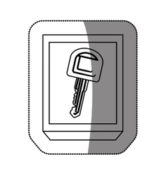 Silhouette curved rectangle with key vector