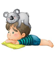 boy and bear vector image