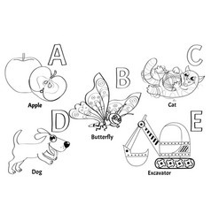 Colorless alphabet for kids vector