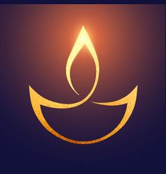 golden diwali artistic diya background vector image vector image