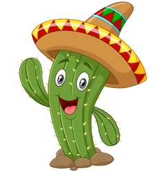 Happy cactus waving hand on white background vector image