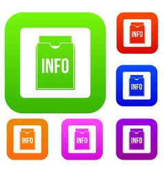 info folder set color collection vector image