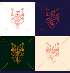 set of four fox head geometric lines silhouette vector image vector image