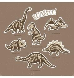 Sticker set of dinosaur skeletons in cartoon style vector image vector image