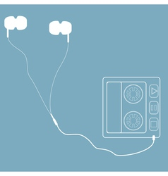 White headphones with cord and player in retro sty vector image