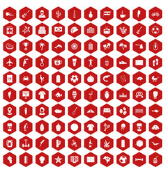 100 south america icons hexagon red vector image