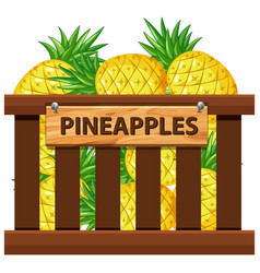 a crate of pineapple vector image