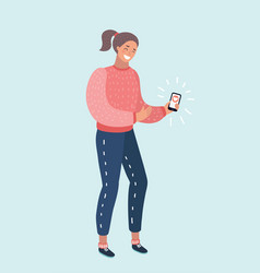 a woman with a smartphone vector image