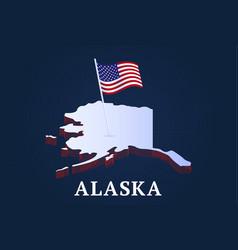 Alaska state isometric map and usa natioanl flag vector