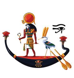 ancient egypt sun god ra or horus cartoon vector image