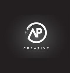 Ap circular letter logo with circle brush design vector