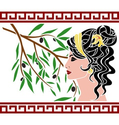 Aphrodite and olive branch vector