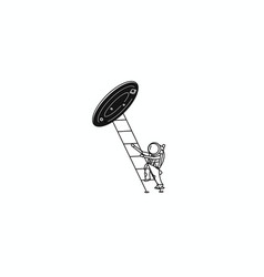 Astronaut climbs ladder into wormhole flat vector