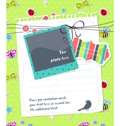 Bascrapbook card with photo frame vector