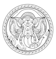 Beautiful round plate with indian decoration vector