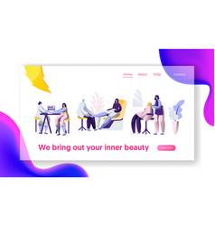 Beauty hairstyle salon stylist clean fingernail vector