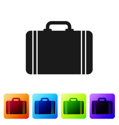 Black suitcase for travel icon isolated on white vector