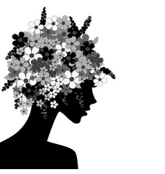 black woman profile with flowers in her head vector image
