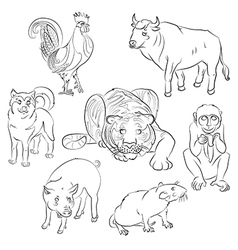 Bull Cock dog monkey pig rat tiger vector image