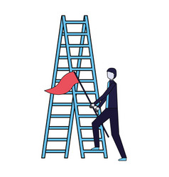 Businessman with flag and stairs success vector