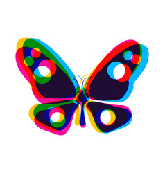 butterfly in cmyk style vector image