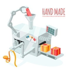 Cartoon robotic production of gift boxes vector