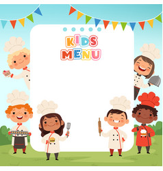 Children cooking background little kids chef vector