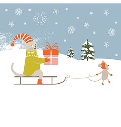 Christmas card and New Years card vector image