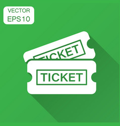 Cinema ticket icon in flat style admit one coupon vector