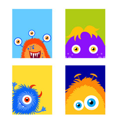 collection monsters party banner cartoon style vector image
