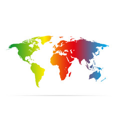 color earth map with shadow colorful vector image