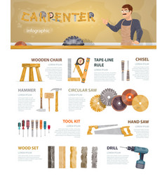 Colorful carpentry infographic template vector