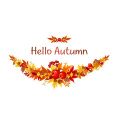 colorful fall autumn leaves and berries vector image