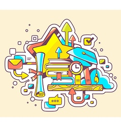Colorful of education with books and graduat vector