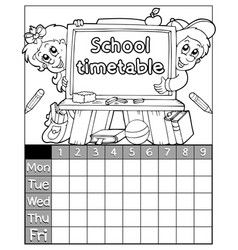 Coloring book timetable topic 3 vector