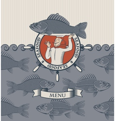 cook and the fish vector image