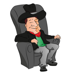 cowboy sleeping on armchair vector image