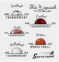 Cricket volleyball football basketball squash vector