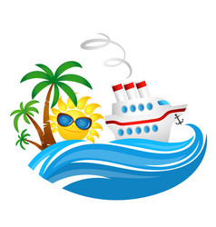 Cruise ship on wave and sun vector