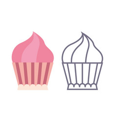 cupcake icons on isolated background vector image