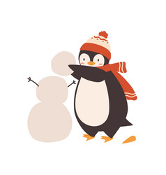 Cute bapenguin making snowman holding snow vector