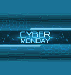 cyber monday blue digital design modern vector image