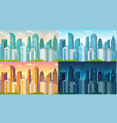 day time cityscape city buildings at morning day vector image
