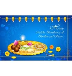 Decorated thali with Rakhi for Raksha Bandhan vector image