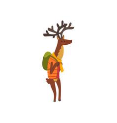 deer travelling with backpack cute cartoon animal vector image