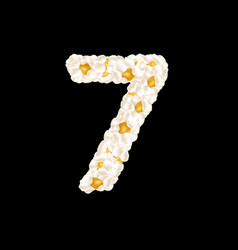 Digit 7 made up airy popcorn vector
