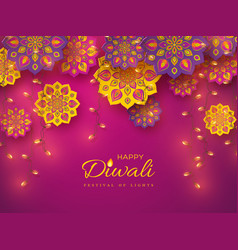 Diwali festival holiday design with rangoli vector