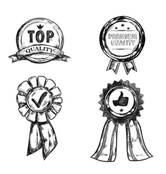 Drawing Quality Medal Emblem Set vector