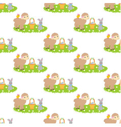 Easter bunny and lamb seamless pattern vector