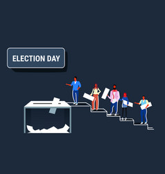 Election day concept men women voters casting vector